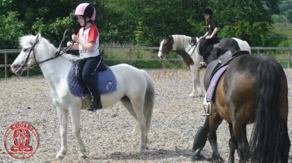 Kids are enjoying riding ponies in Cooley Equestrian Centre, Cooley, Moville, Co Donegal